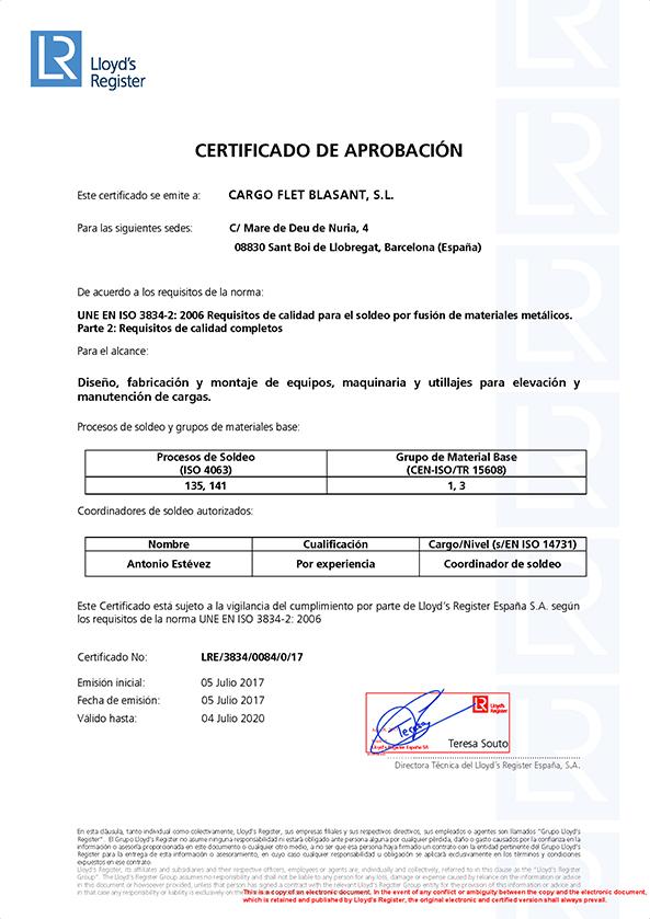 Certificados ISO 3834 esp