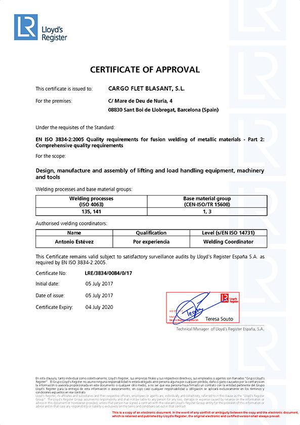 Certificates Ox Worldwide ISO