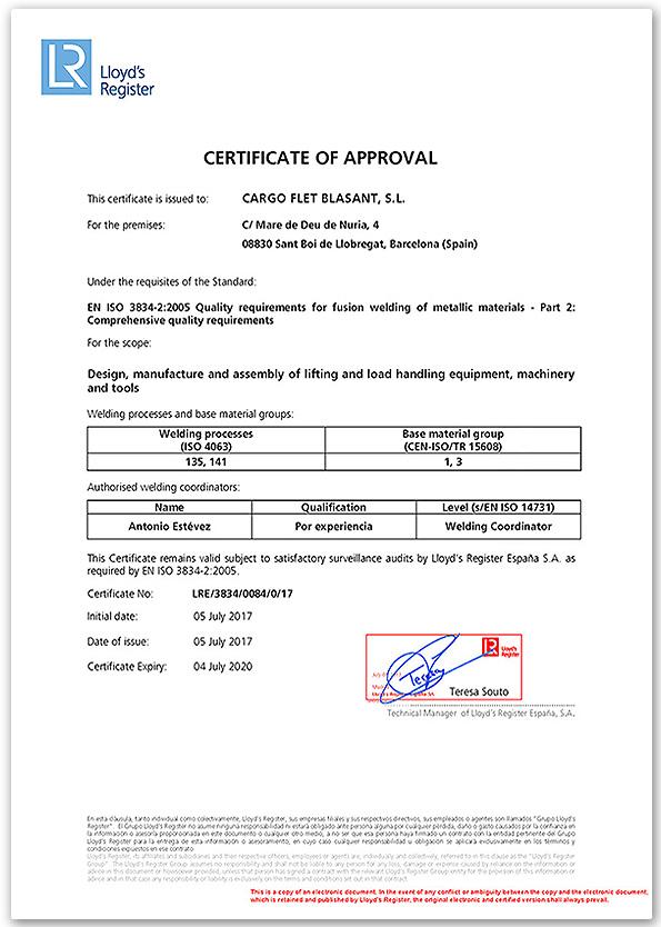 ISO Certificates Ox Worldwide 2