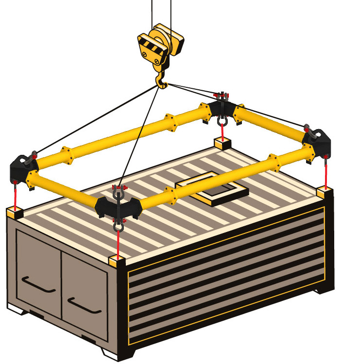 spreader frame or corner beam for large loads