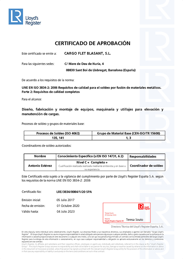 Certificados Ox Worldwide Soldadura 3834