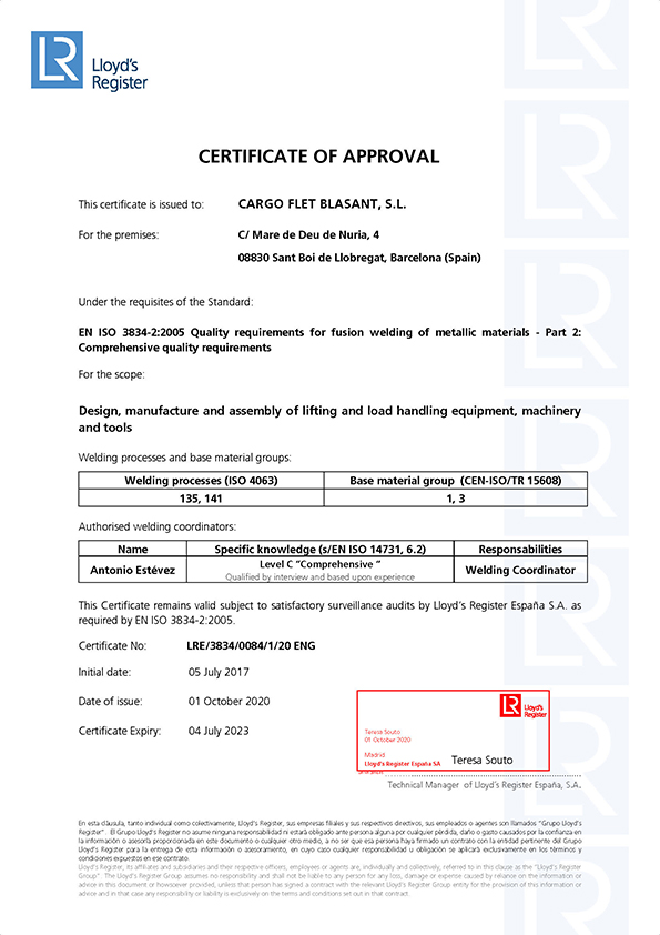 Certificates Ox Worldwide 3834 Welding